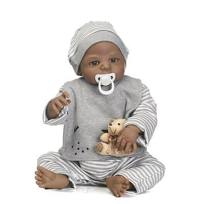 "Black 23"" 57cm Full Body Reborn Doll Realistic Looking Baby Boy Lifelike Dolls"