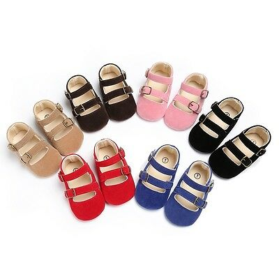 Baby Infant Girl Matte PU Leather Crib Shoes Soft Sole Toddler Princess Shoes