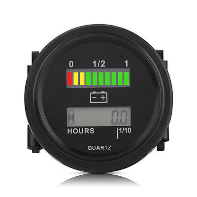 LED Digital Battery Indicator Hour Meter Gauge For Car Golf Cart Truck RV Boat