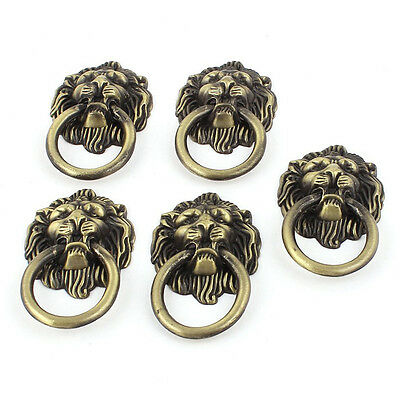 Vintage Lion Head Ring Dresser Drawer Cabinet Door Pull Handle 5pcs P9B4