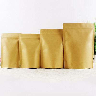 Kraft Paper Bag Zip Lock Self Sealable Seal stand UP Food Storage Packing Pouch