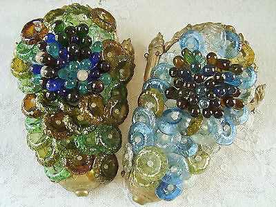 Rare Pair Art Deco Murano Decorative Sconces Wall Hangings Coloured Glass