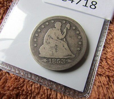 Nice 1853 25C Arrows & Rays Liberty Seated Quarter