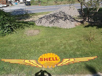 1920's SHELL OIL CO  Aviation Fuel PORCELAIN Wings  SIGN Set