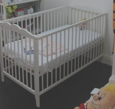 Ikea cot with mattress and guard rail