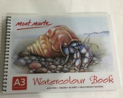 Watercolour Book A3 Mont Marte 30 Sheet 190gsm New drawing painting Art Craft