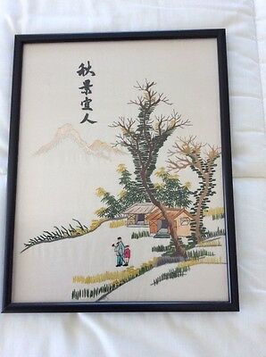 Vintage Chinese Silk Embroidery Hand Embroidered Signed Frame Glazed
