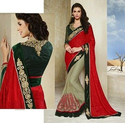 Indian Ladies Embroidered Red Green Party Saree Velvet Motif Borders