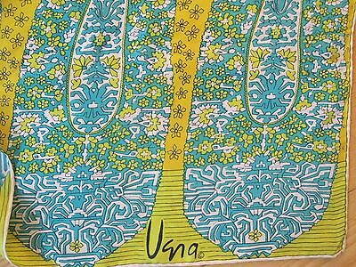 "Vintage 1960's 1970's Vera Neumann Silk Scarf Green Blue Paisley 26"" Square Nice"