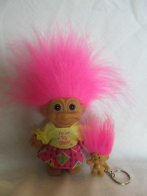 "Troll doll by Russ 4'' (I'm a Big Sister) +Russ key chain 1"" pink hair"