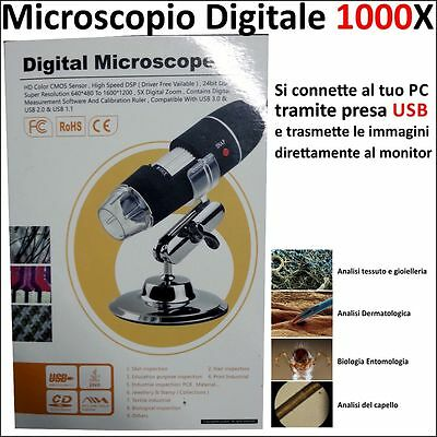 Microscopio Usb Digitale 1000X Pc Notebook Lap Foto Video 8 Led 2.0 Mpx Staffa