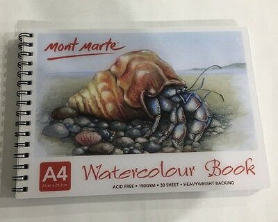Watercolour Book A4 Mont Marte 30 Sheet 190gsm New Drawing Painting Art Craft