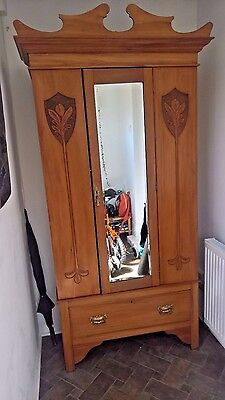 Solid wood yew small armoire wardrobe with beveled mirror and drawer below