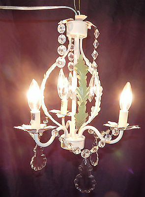 Beautiful Petite 3 Light Tole Chandelier Hanging Swag  Light Loaded With Prisms