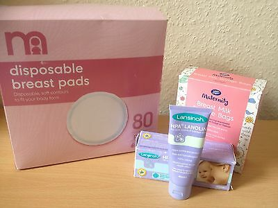 Lansinoh Cream, Mothercare Breast Pads, Boots Breastmilk Storage Bags