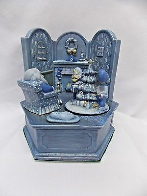 "Santa Blue Room Ceramic Handpainted Figurine Plays ""Little Drummer Boy"" Turns"