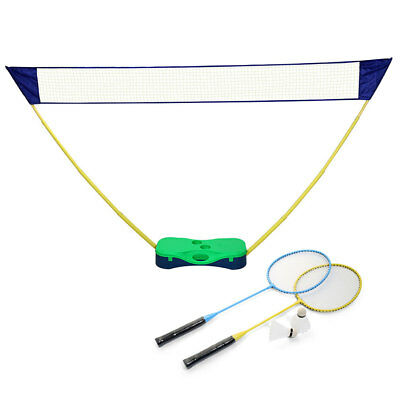 Outdoor Portable Badminton Set with Standing Box Volleyball Net Frame Battledore