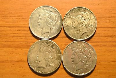 Lot of FOUR Mixed Date Peace Dollars, Cheap Silver