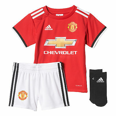 adidas Manchester United 2017/18 Kids Infant Baby Home Kit Red
