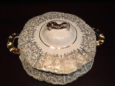 Vintage W.S. George Covered Vegetable Dish Radisson Shape in White & Gold