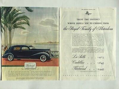 "1936 Cadillac Fleetwood LaSalle 2 Page ORIGINAL 10x13"" AD - Great Garage Decor"
