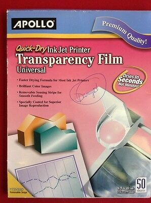 Quick-Dry Transparency Film, Removable Sensing Stripe, Letter, Clear, 48 Sheets
