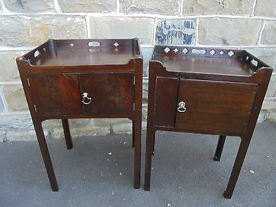 Matched Pair Geo III Mahogany Tray Top Bedside Tables