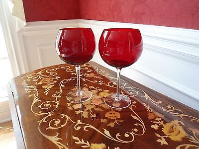Set of 2 hand blown ruby glass with clear stem goblets