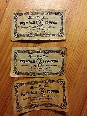 3 Antique Merchants Profit Sharing Coupons