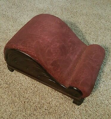 NICE Antique VTG Gout Stool Victorian upholstery covered carved wood foot rest
