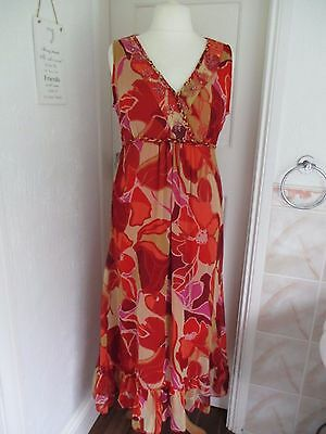 Lovely KLASS COLLECTION Orange Beaded Tie Waist Maxi Style Dress Size 16 used