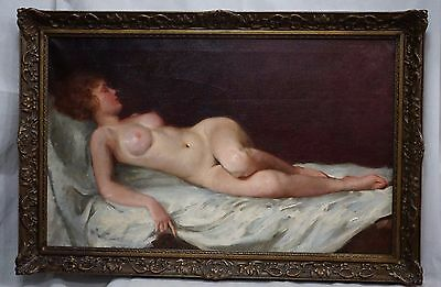 Beautiful Nude Oil Painting by Maria SZANTHO ca1950s. 24x35.5