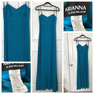 Beautiful Sparkly Arianna by Rachel Kaye Turquoise Blue Gown Dress Size 12