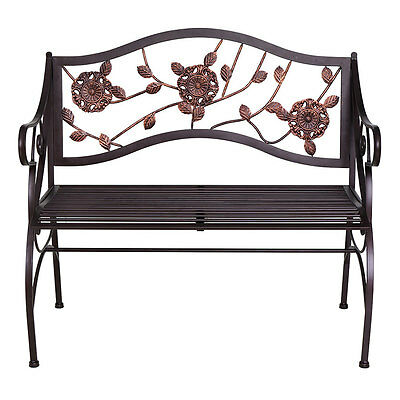 Metal Home Garden Bench 2 Seaters Chair Furniture With Armrest & Backrest