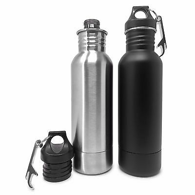 2 Pack Stainless Steel Beer Bottle Koozie Keeper Cold Insulated (Silver + Black)