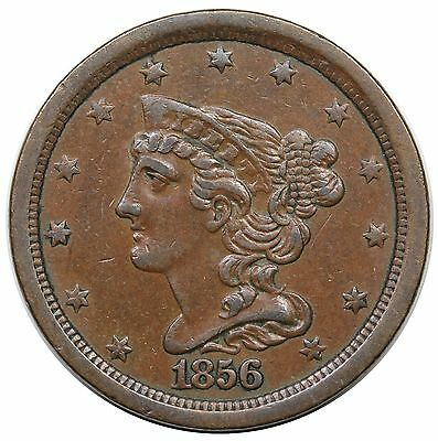1856 Braided Hair Half Cent, C-1, nice XF