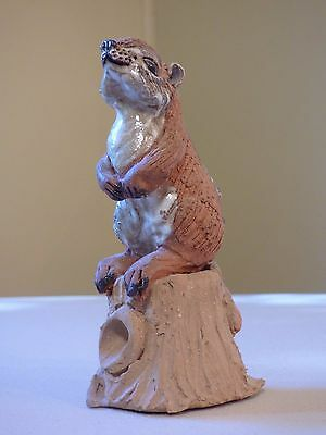 Chipmunk, Clay and Glazed figurine signed by Betty Kendall