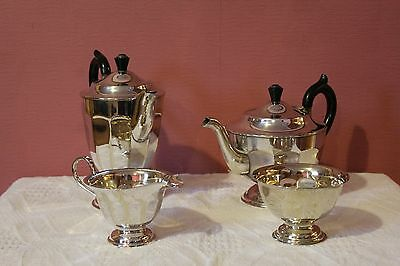Art Deco Style Silver Plate Made In Sheffield 4 Piece Tea Service