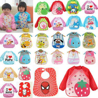 Baby Boy Girl Toddler Waterproof Feeding Bib Apron Smock Long Sleeve /Sleeveless