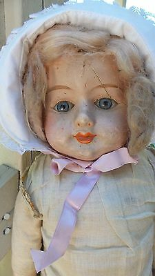"25"" ENCHANTING Smile Antique PAPER MACHE Papier Mache DOLL PARTS Repair RESTORE"