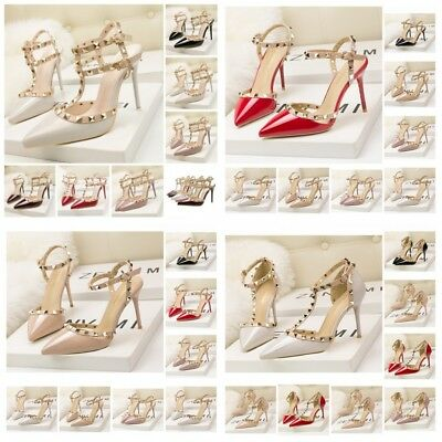 UK Womens Studded Shoes Pointed Toe Strappy Pumps High Heels Rivet Roman Sandals