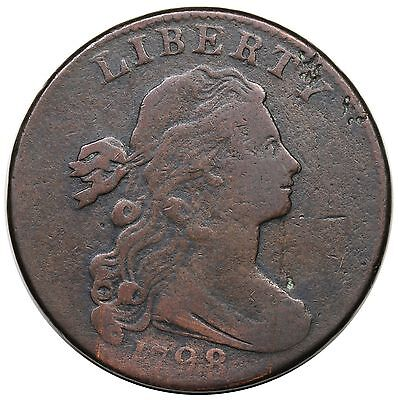 1798 Draped Bust Large Cent, Style 2 Hair, S-179, F detail