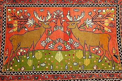 Cir 1930s ANTIQUE DETAILED DEER SUBJECT FINE PRSIAN BEJAR RUG 2.2x3.3 MUST SEE