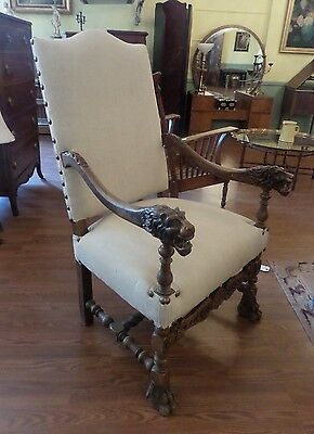 Antique High Back Upholstered Lions Head Arm Chair  RARE