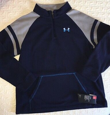 UNDER ARMOUR Youth Boys Quarter Zip Fleece Pullover, Blue, Size XL, NWT
