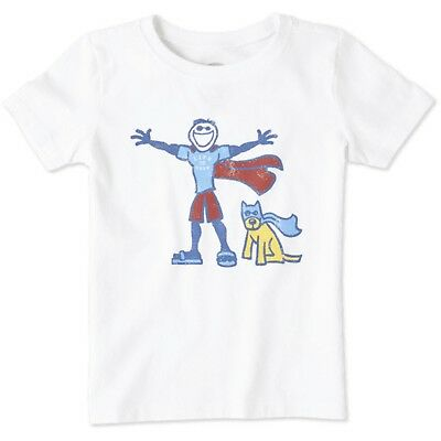 Life is Good. Toddler Short Sleeve Tee: Super Jake - Cloud White