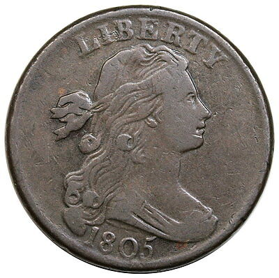 1805 Draped Bust Large Cent, Blunt 1, S-268, R.3, nice VF