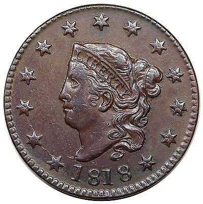 1818 Coronet Head Large Cent, N-5, R.3, XF detail
