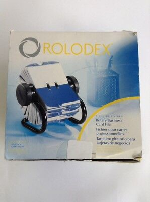 """Rolodex Open Rotary Business Card File with 200 2-5/8 x 4"""" Black (67236)open box"""