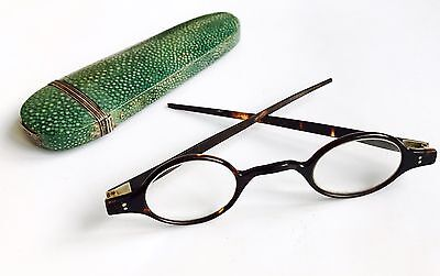 Antique Faux Tortoise Shell Spectacles And Antique Shagreen Spectacle Case C19th
